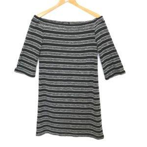 Tahari Off Shoulder Dress Womens Size 6 Black Grey